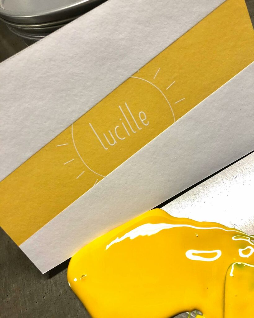 Gele geboortekaart Lucille