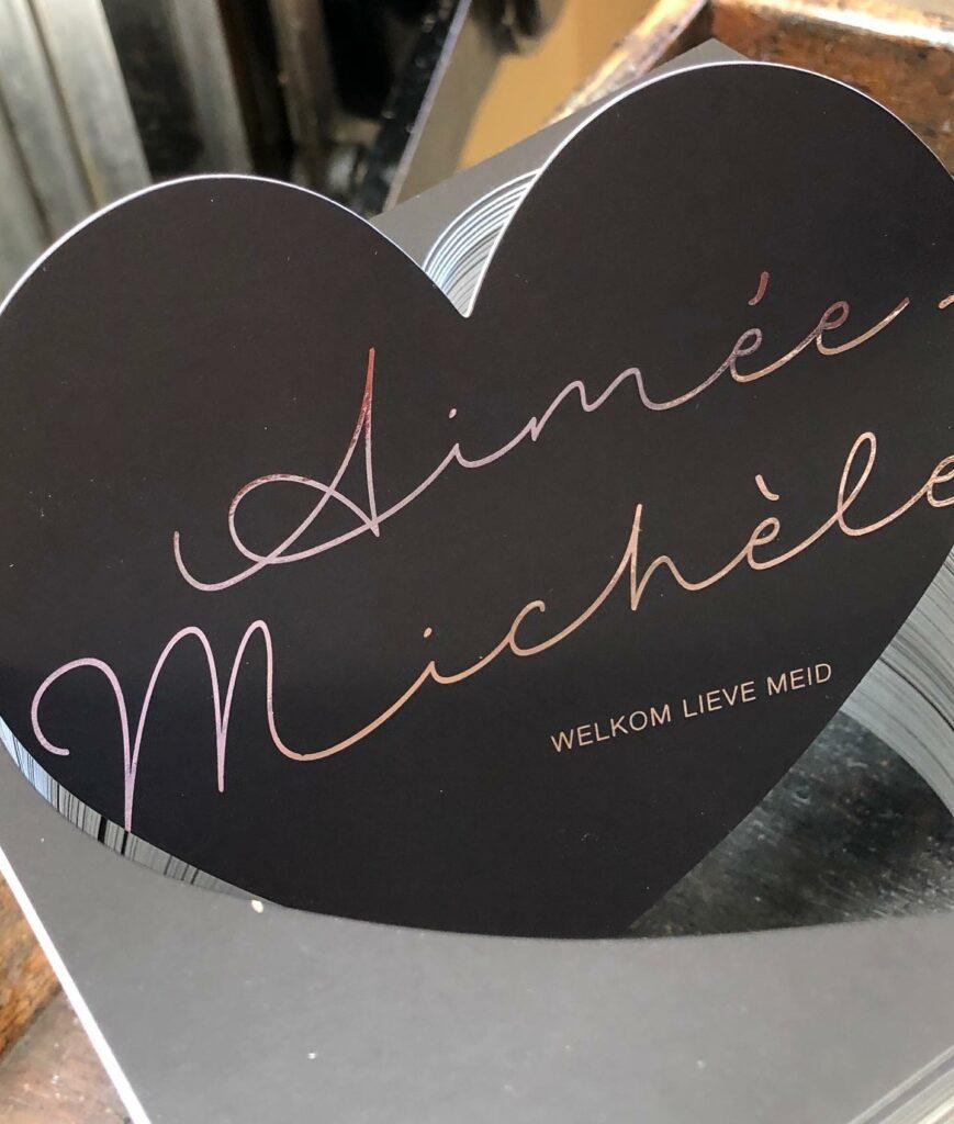 Geboortekaartje hart Aimée Michèle
